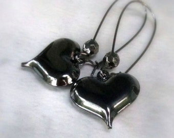 Black Heart Earrings, Puffed Gunmetal Hearts, Long Kidney Wires, Goth Gift for BFF's to Share... Whimsical Earrings