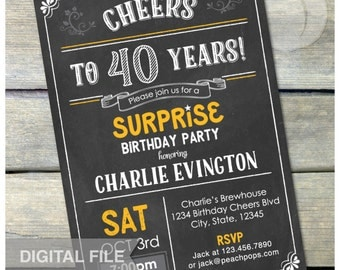 "Surprise 40th Birthday Invitation Chalkboard Surprise Birthday Party Any Age - Digital Invite 5"" x 7"" Digital Printable"