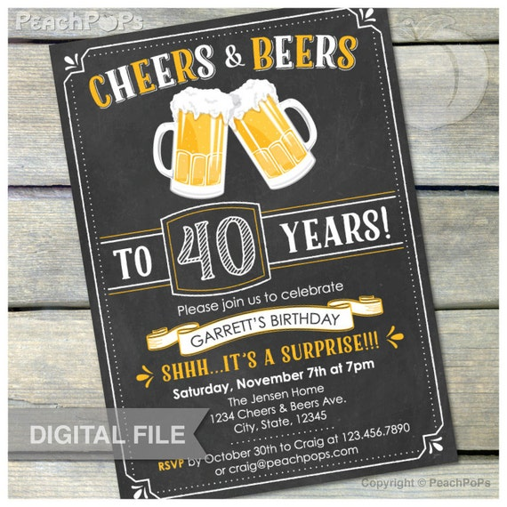40th Birthday Party Idea For A Man: Surprise 40th Birthday Invitation Cheers & Beers Invite