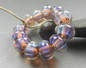 SRA Handmade LAMPWORK Glass BEADS Donna Millard silver glass blue purple lavender ice 12 beads