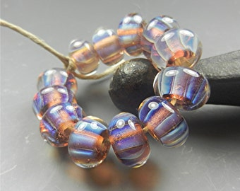 SRA Handmade LAMPWORK Glass BEADS Donna Millard silver glass blue purple lavender ice 12 beads