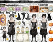 ART TEA LIFE Good Witch Halloween Collage Sheet Paper Doll Parts digital file altered art scrapbook journal page decoupage clip art