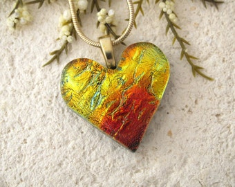 Golden Red Heart Necklace, Dichroic Jewelry, Fused Glass Pendant, Necklace, Fused Glasss Jewelry, Glass Jewelry, Gold Necklace 080115p112