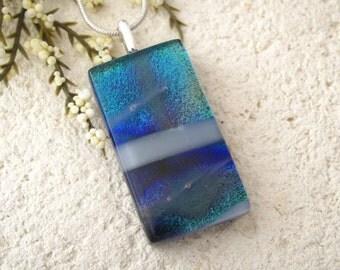 Silver Blue Purple White Necklace, Dichroic Jewelry, Glass Jewelry, Fused Glass Jewelry, Fused Glass Pendant, Dichroic Necklace 080415p101