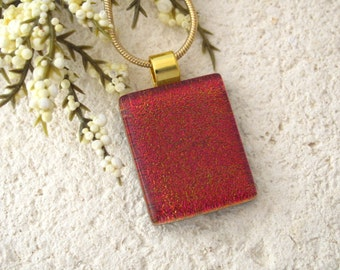 Petite Red Dichroic Necklace, Dichroic Jewelry, Dichroic Necklace, Red Necklace, Fused Glass Jewelry, Red Fused Glass Necklace  080415p104