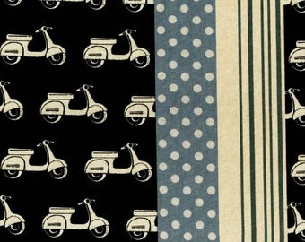 Echino Ni-co Scooters Black OOP Fabric- Half Yard
