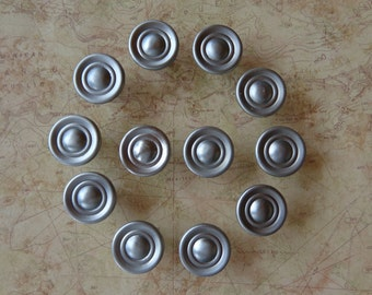 Set of 12 New Nickel Stainless Steel Finish Round Cabinet Knobs Pulls #502-135