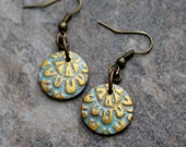 Antiqued Gold Teal Polymer Clay Dangle Earrings. Disk Round Flat Domed Boho  Modern. Faux Metal Art jewelry. Lightweight Brass. Rustic.