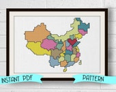Counted Cross Stitch Pattern - China Map Adoption Fundraiser Instant Download, Beginner Friendly