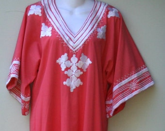 Vintage Couture Kaftan Dress, authentic unique 1970s dress, embroidery coral pink maxi dress, ressort Medium woman M, beach BoHo Hippie wear