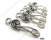 SWIRL Antique Bali 925 Sterling Silver Handmade Hook Clasps T24- 5 sets