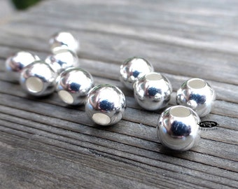 30 pcs 6mm 925 Sterling Silver Beads Round Spacers 2.4mm Hole B39