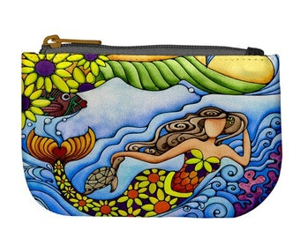 Sunflower Mermaid Printed Fabric Zipper Bag Fully Lined Art Coin Purse Daisy Flower Mermaids Zippered Small Pouch