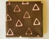Triangle Tribe Hand Dyed and Patterned Fabric in Pink and Chocolate Brown