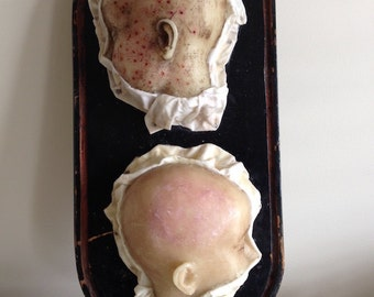 RESERVED - Do NOT Purchase - Holiday SALE - Two Wax Head Profiles on Antique Dome Base - Vintage Medical Oddity Curiosity