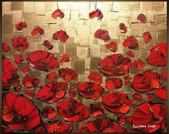 Art ORIGINAL Landscape Painting Gold Red Poppy Abstract Painting Palette Knife Floral Flower Acrylic Susanna 30x24 Ready to Hang