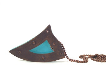 Oxidized Copper and Turquoise Resin Riveted Pendant - Inherent