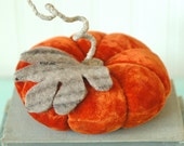 Vintage Velvet Pumpkin, Ring Bearer Pillow, Medium, Fall Decor, Autumn, Dark Rust Orange, Recycled Wool, Adjustable Wire Stem