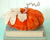 Vintage Velvet Pumpkin, Ring Bearer Pillow, Large, Fall Decor, Autumn, Dark Orange, Recycled Wool, Adjustable Wire Stem