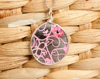 Pink Lace Necklace, Paper Jewelry, Recycled Card, Ice Resin