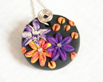 Passion Flowers Necklace, Polymer Clay Jewelry