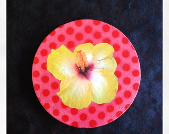 "Original 5"" Round Mini Painting with Collaged Hibiscus Flower"
