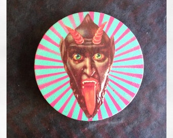 "Original 5"" Round Mini Painting with Collaged Devil Mask"