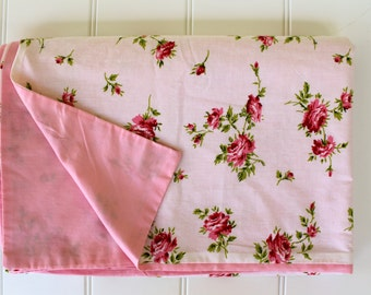 Vintage Duvet Cover - Pink Roses - Cottage Chic - Full or Queen Size