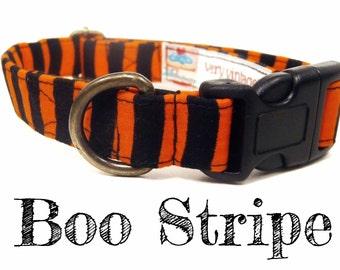 "Halloween Orange Black Stripe Dog Collar - Organic Cotton - Antique Brass Hardware - ""Boo Stripe"""
