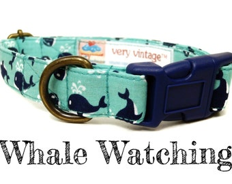 """Mint Green Navy Blue Nautical Whale Dog Collar - Organic Cotton - Antique Brass Hardware - """"Whale Watching"""""""
