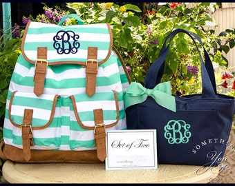 Set of 2 - Mint Striped Personalized Campus Backpack and Solid Navy Lunch Box - Monogrammed Knapsack Backpack, Rucksack Bookbags, Large Tote