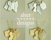 Four State Necklace - 4 Best Friends Necklace - Best Friends Long Distance Necklace BFF Necklace - Friendship Necklace - 4 Sisters Necklace