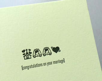 Emojicards: Congratulations on your Marriage (Two Brides Wedding), single letterpress card