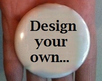 """2.25"""" Pin or Magnet back button, round circle - Design your own - Name tag"""