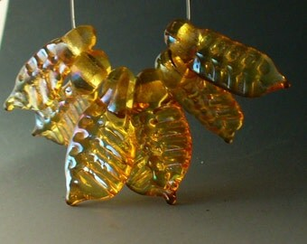 Glass Lampwork Beads by Catalinaglass SRA Special Leaves