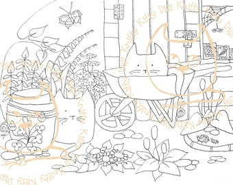 Digi Stamp Instant Download. At The Bottom of the Garden - Knitty Kitty Digis No. 3.