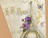 PN002 Set of 3 Paper Napkins by Cypress Home ~ 4 x 8 Fabulous Antique Collage Design ~ Eiffel Tower & French Script Butterfly Purple Flower