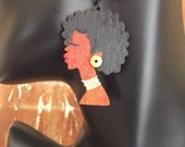 Afro Silhouette Earring w Accent Beads
