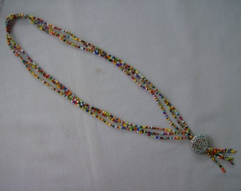 Asian Motif Multi Color Beaded Tassel Necklace