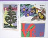 Wedding Postage Stamps, Michigan Stamp Tree by Lake, Love Stamp,  Flowers, Mail 20 Wedding Invitations 2 oz, 71 cents nature postage stamps