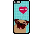Phone Case - Pug Saying Hello - Hard Case for iPhone 4, 4s, 5, 5s, 5c, 6, 6 Plus - iPod Touch 4, 5 - Galaxy S3, S4, S5