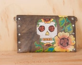 Pouch - Clutch - Wristlet - Waist Bag - Small Purse - Make-up Bag - Leather - Black Eyed Nellie pattern - cow skull and flowers