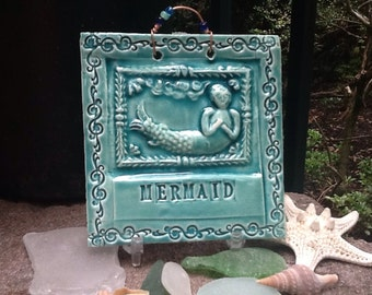 MYTHICAL MERMAID Tile in Turquoise
