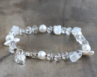 HALF PRICE - Hand knotted gemstone bracelet - crystal quartz, pearls & rainbow moonstone with pure silver seashell charm