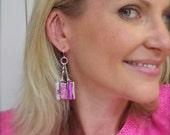Trending now, pink statement earrings, bohemian jewelry, dangle & drop earrings, handmade jewelry, dichroic earrings, unique wedding gift