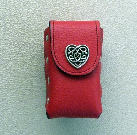 Cigarette Case, Red Leather Cigarette Case with Heart Concho, Celtic Heart Concho