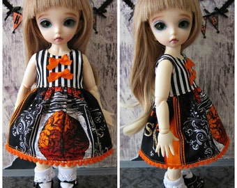 LittleFee YoSD Tiny BJD Halloween Babydoll Dress OOAK by Tickled Pink by Julie