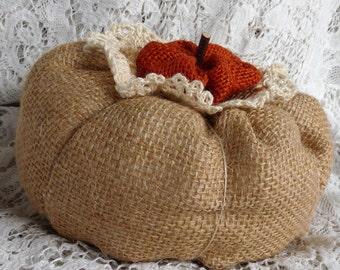 Stuffed pumpkin, burlap pumpkin,