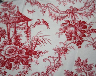Toile fabric with beige background 1 yard