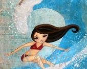 Surf Decor,Surfer Girl Art, Beach Decor, Surf Art, Print Sizes 5x7 or  8x10 by HRushton